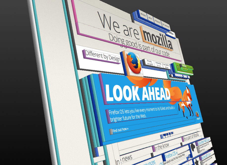mozilla.org in 3d view